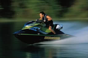 jet-skiing on Lake Lewisville